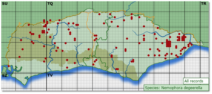 Distribution map for Nemophora degeerella