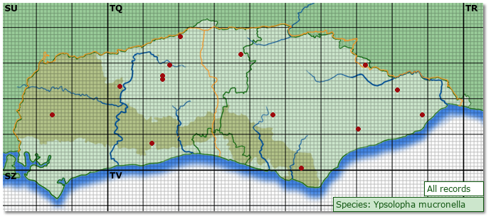 Distribution map for Ypsolopha mucronella