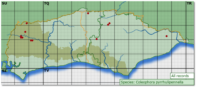 Distribution map for Coleophora pyrrhulipennella