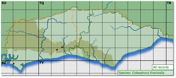 Distribution map for Coleophora therinella