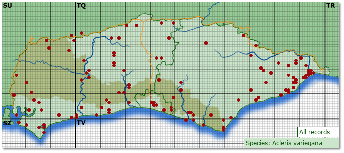 Distribution map for Acleris variegana