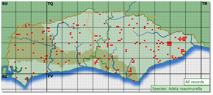 Distribution map for Adela reaumurella