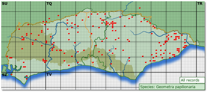Distribution map for Geometra papilionaria