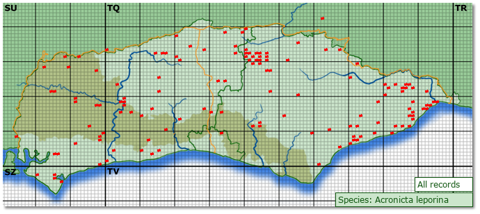 Distribution map for Acronicta leporina