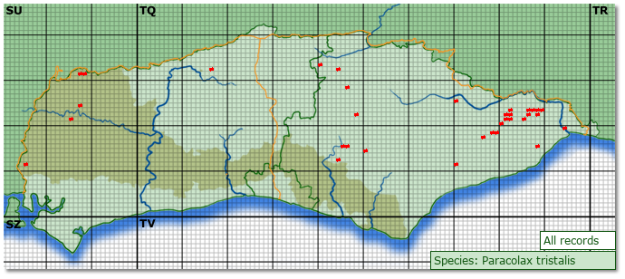 Distribution map for Paracolax tristalis