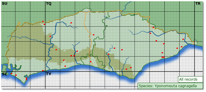 Distribution map for Yponomeuta cagnagella