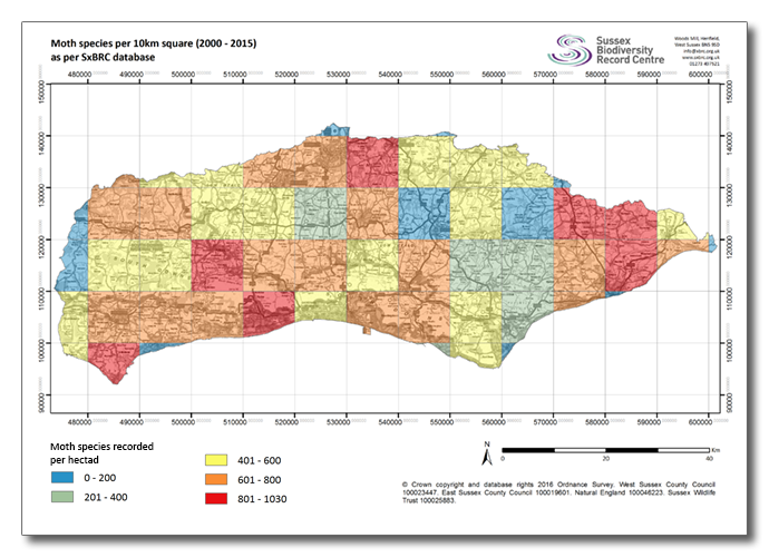 Sussex Moth Species Map